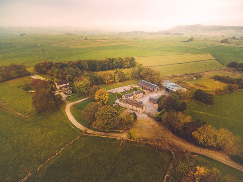 Aerial shot of Brosterfield Farm
