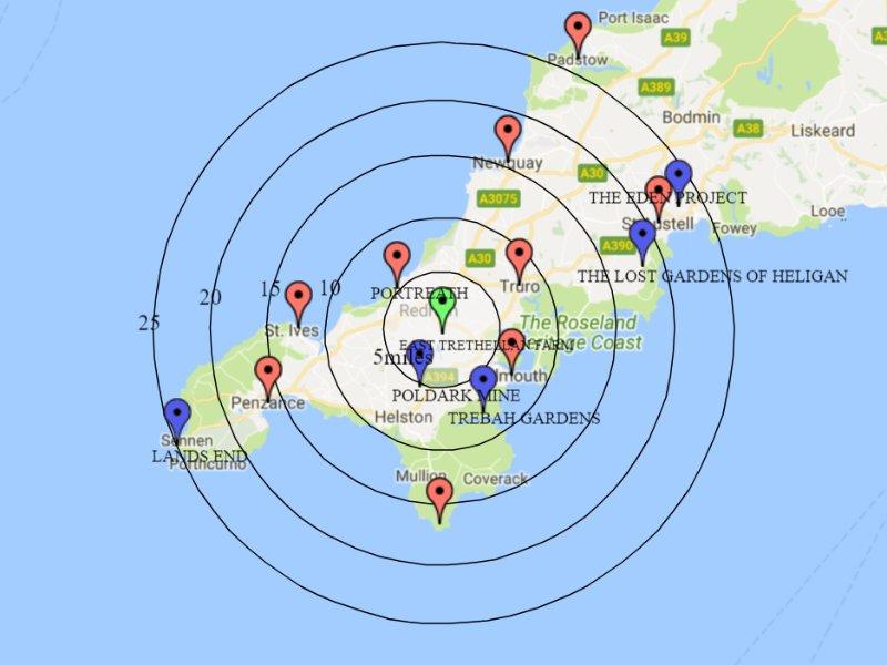 Notre emplacement central assure toutes les attractions merveilleuses de Cornwall sont facilement accessibles
