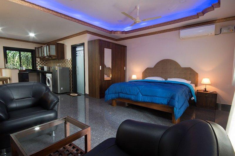 Ruim appartement met prachtig verlicht slaapkamer, banken, balkon, AC, kitchenette, een wasmachine