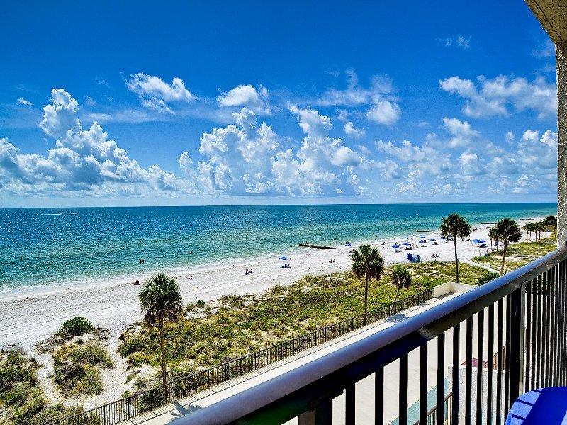 Panoramic beach views.