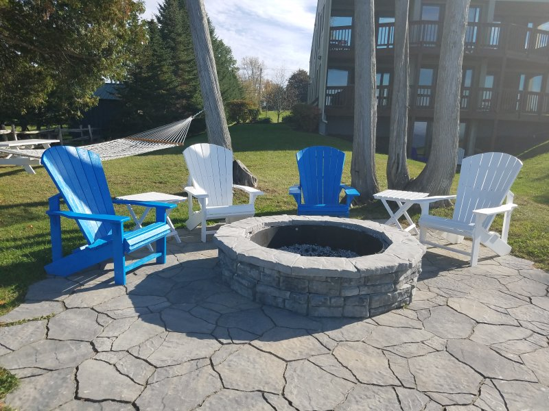 Enjoy the fire pit or relax on the hammock.