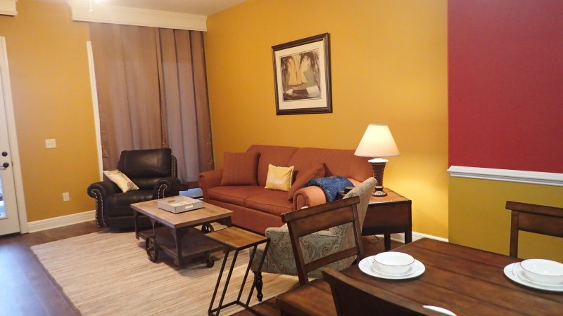 Ozark Hilltop Condo - living room w/ sofa sleeper -5 inch memory foam mattress - access to lg deck
