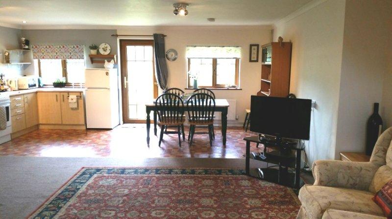 Espaçoso plano aberto sala de estar / jantar e cozinha com vista para o campo de jogo / prado flor selvagem