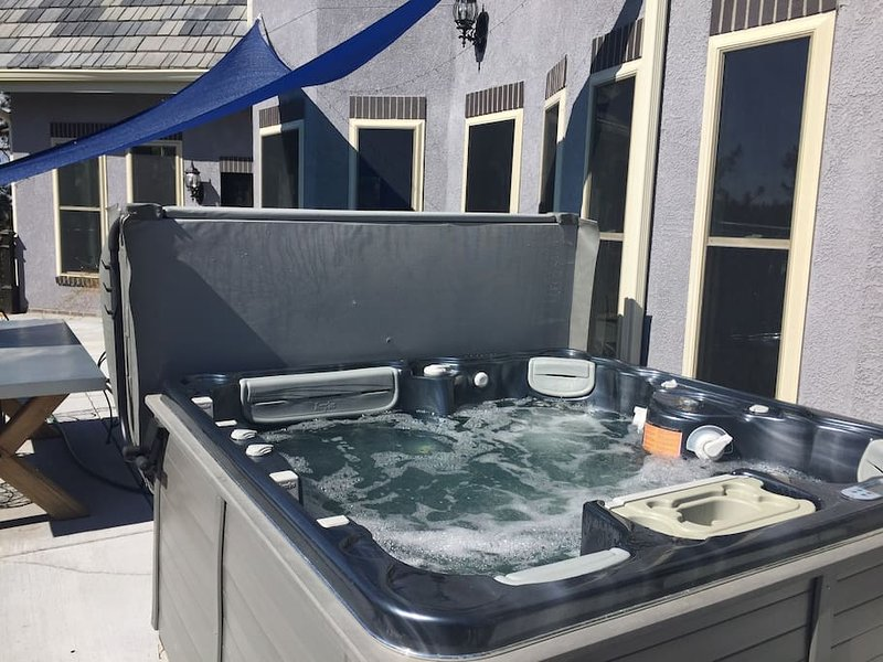 Spa quality Hot Tub on our concrete deck with view of Pike's Peak.