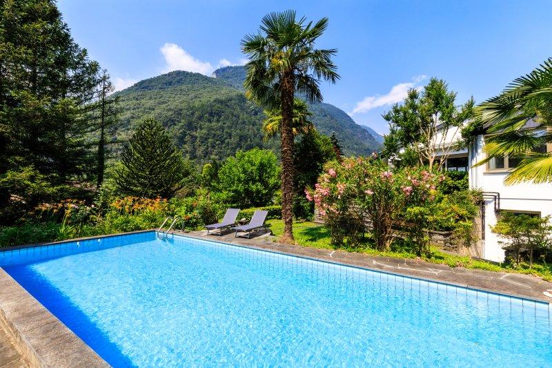 Ontspannende tuin en het zwembad