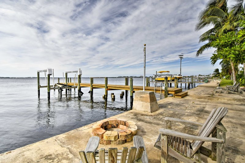 Admire the Gulf of Mexico from the riverfront fire pit, steps from the property!
