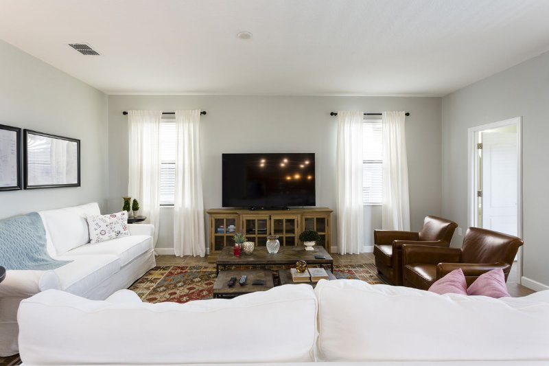 Ample seating around the large flat screen tv