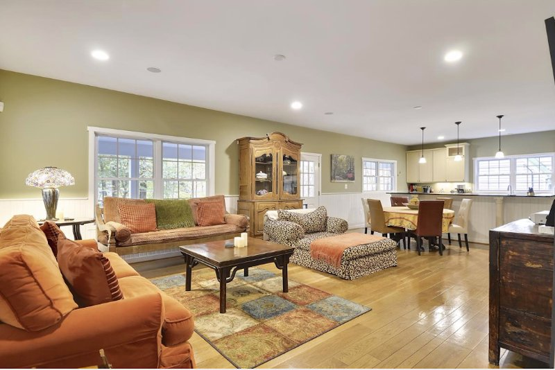 There is plenty of room to enjoy one another with the open kitchen, dining and living room area