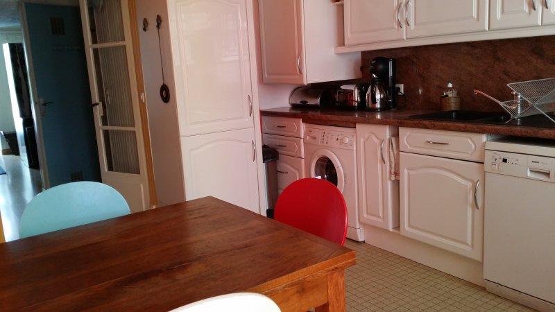 Cuisine entièrement équipée avec appareils électroménagers, lave-linge, lave-vaisselle, micro-ondes, cuisinière, four, etc.