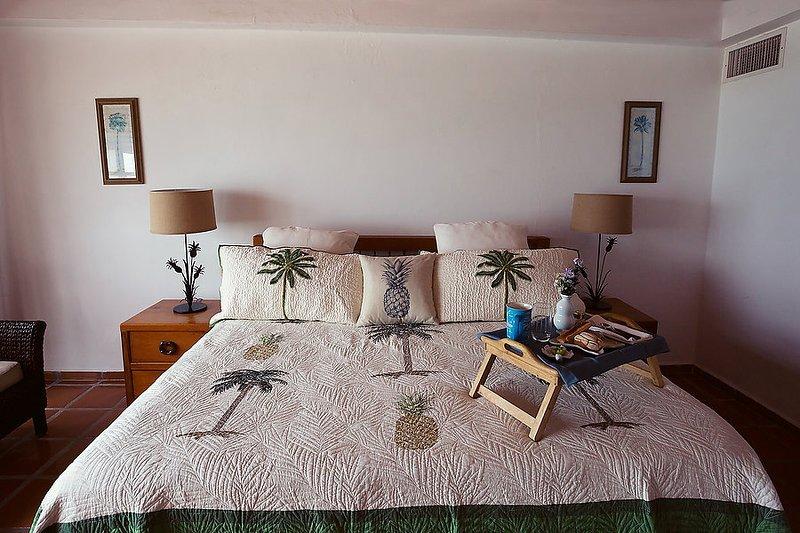 """Biancheria da letto importate (designer), 36"""" LCD TV, rattan sdraio, balcone con vista sull'oceano"""