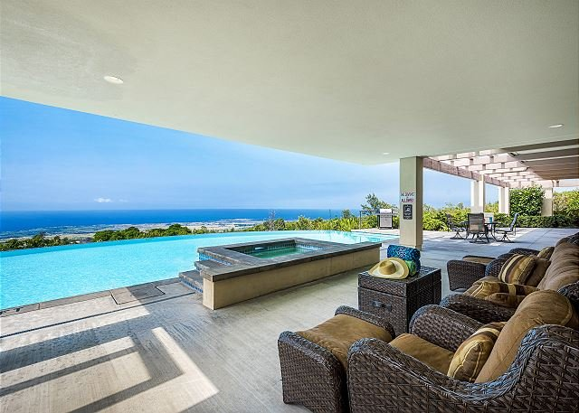 Covered Pool side seating with a view!