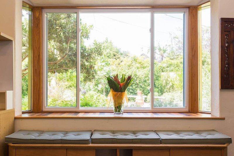 Serene Zen Hideaway a window view to a Zen garden
