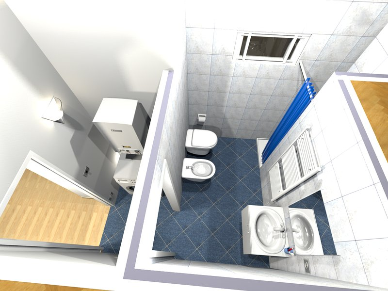 3D view - dressing and bathroom
