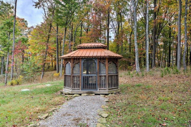 Relax and enjoy a glass of wine in the gazebo.
