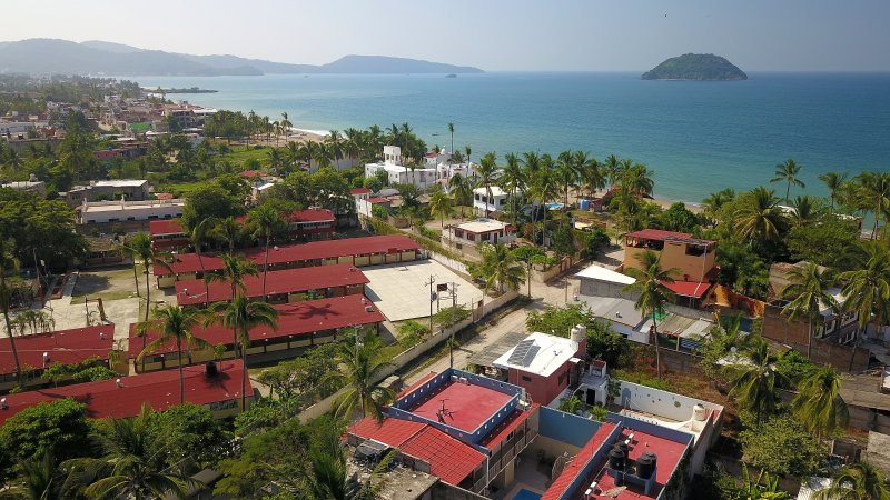 aerial view looking toward bay