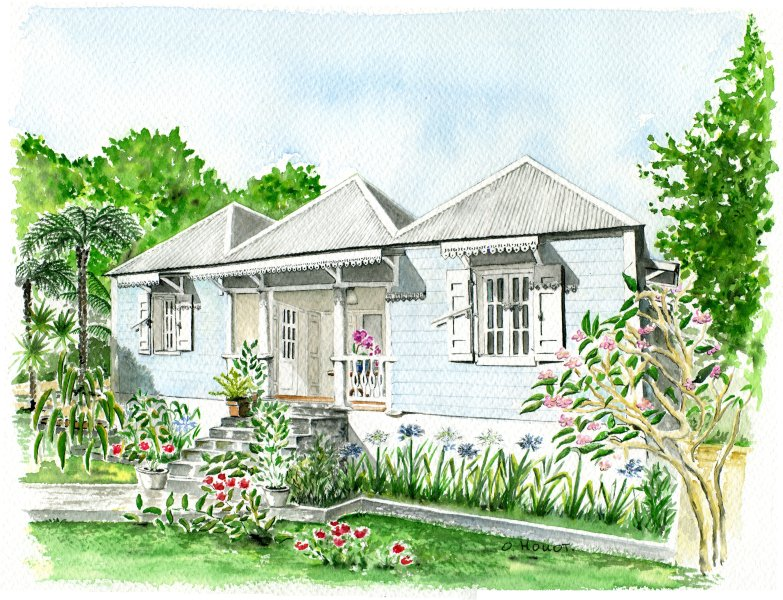 The watercolor of the villa run by Odile HOUOT