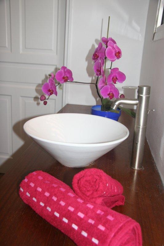 Den huvudsakliga Badrummet är mycket rymligt med 2 handfat. WC anligga