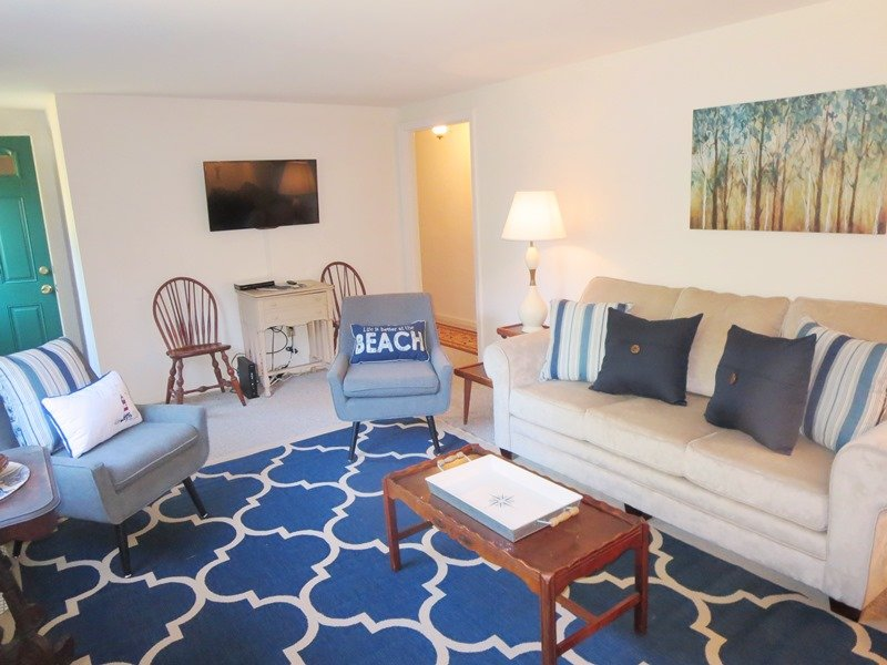 Living Area with Flat Screen TV-WIFI and central air throughout-South Harwich Cape Cod New England Vacation Rentals