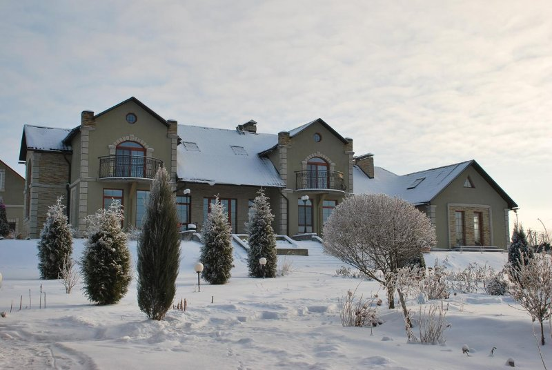 Villa in the winter landscape