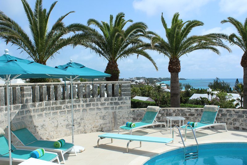 Our pool deck with a beautiful view of the South Shore and beyond.