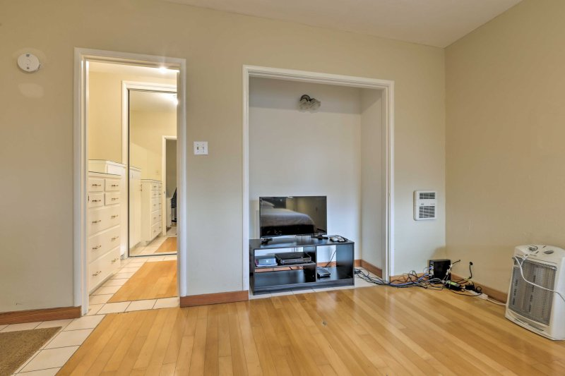 The flat-screen in the bedroom is equipped with cable for your entertainment.