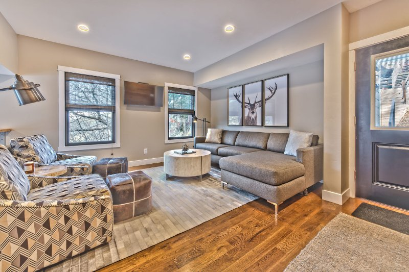 Entry into Living Room with Beautiful Hardwood Floors, Contemporary Furnishings and Smart TV