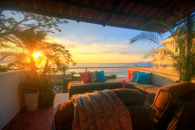 Stunning sunsets each evening from your huge private terrace. Just steps from Los Muertos Beach!