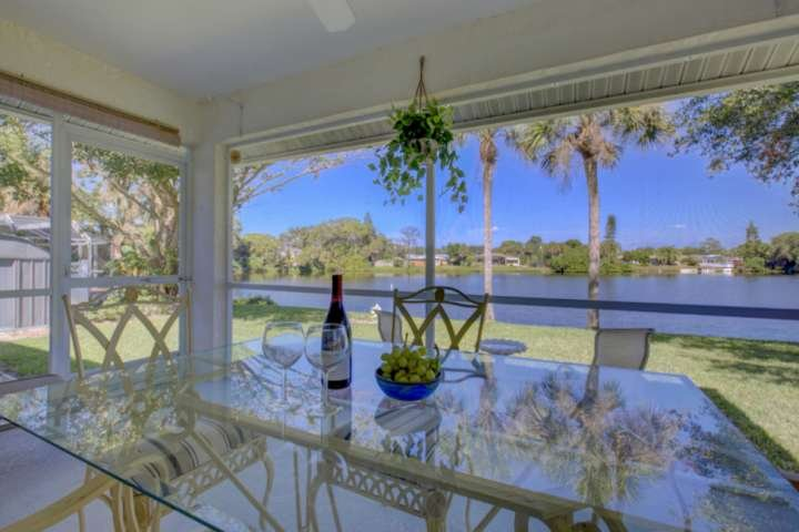 Relax with a glass of wine and enjoy the lake views!