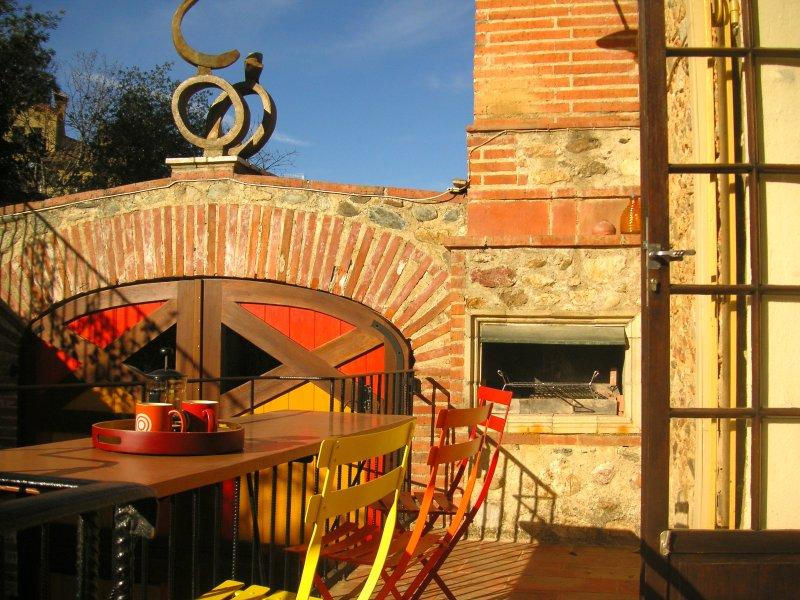 Small private patio and barbecue