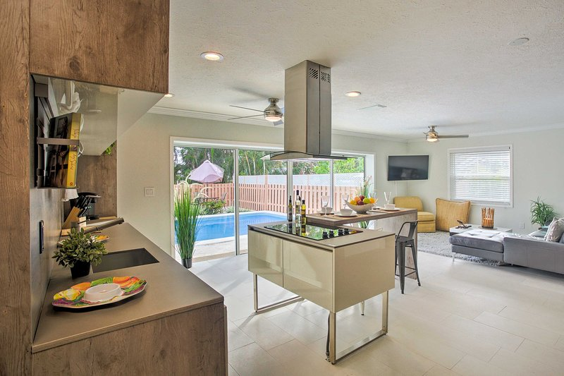 This modern vacation rental home offers a private pool!