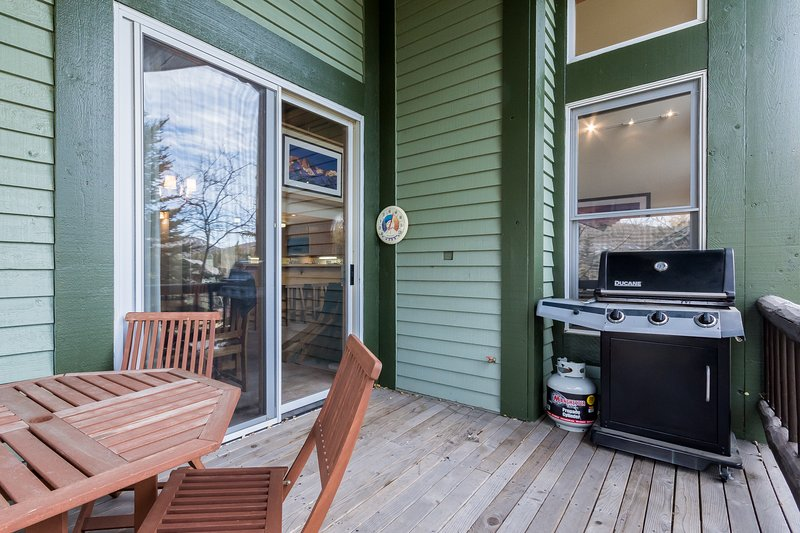 Deck With Gas BBQ, Teak Table and Chairs for 4