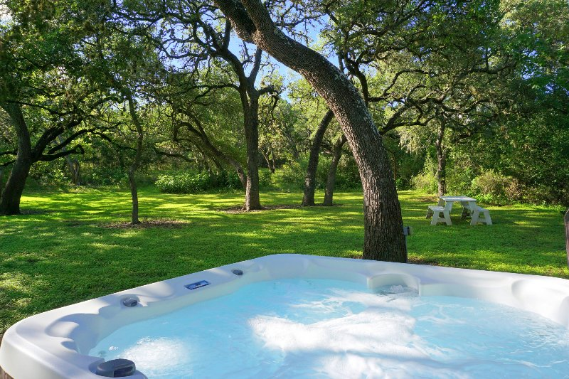 Freestanding hot tub for soaking under the stars!