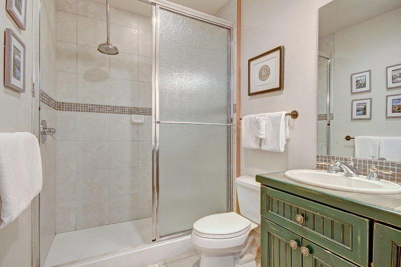 Bad Hall - Hauptebene Hall Badezimmer verfügt über eine Badewanne-Dusche-Kombination.