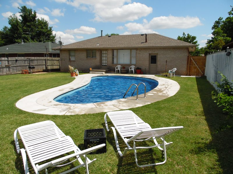 large private backyard with seasonal pool!