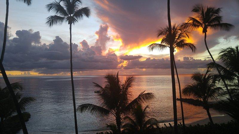 Coucher de soleil depuis le balcon. Presque tous les soirs est spectaculaire.