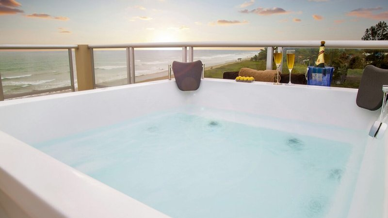Incredible sunsets enjoyed from the private jacuzzi on the terrace.