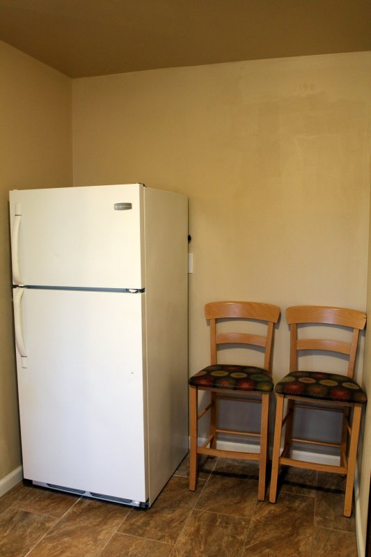 Fridge and counter stools