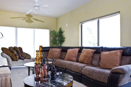 Large Living Room area with Sectional and view of the Potomac River