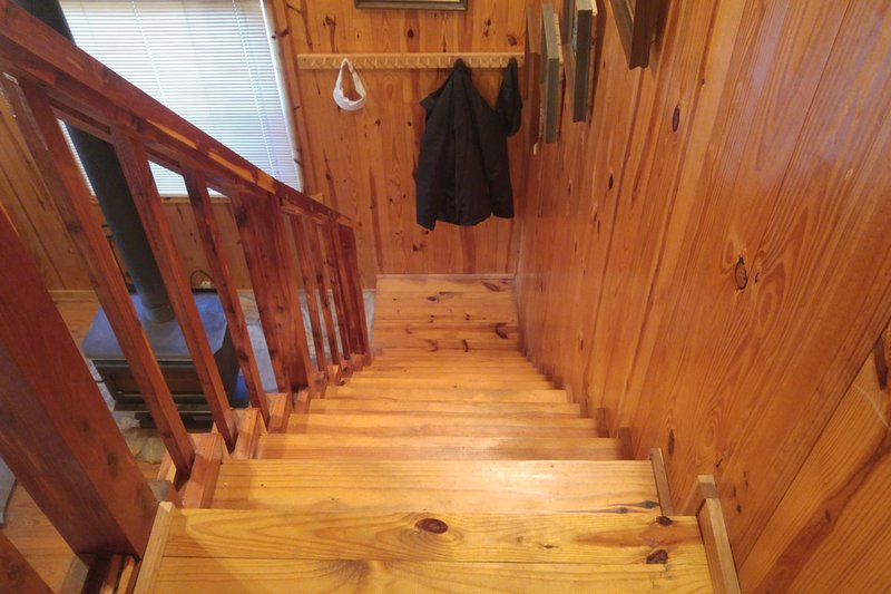 steep and narrow steps to access 2nd level