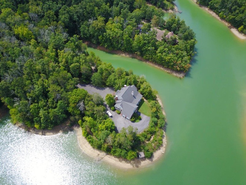 Aerial View of the Lake House and the 5 Acre Peninsula