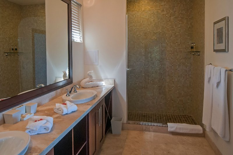 Bedroom ensuite with large shower and double vanity