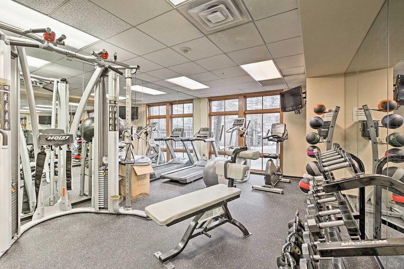 Stay in shape while on vacation with the help of the resort's fitness center.