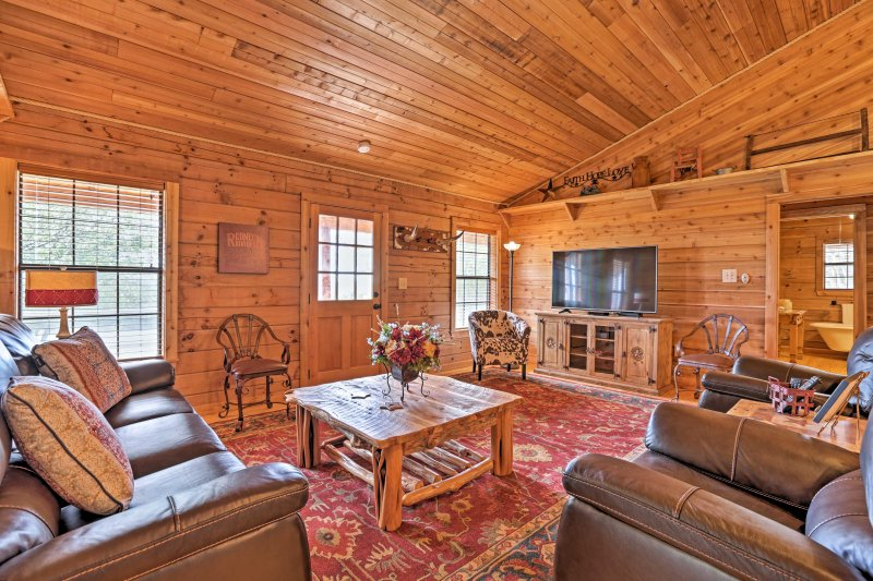 Step inside the 1,600 square foot property to discover rustic furnishings.
