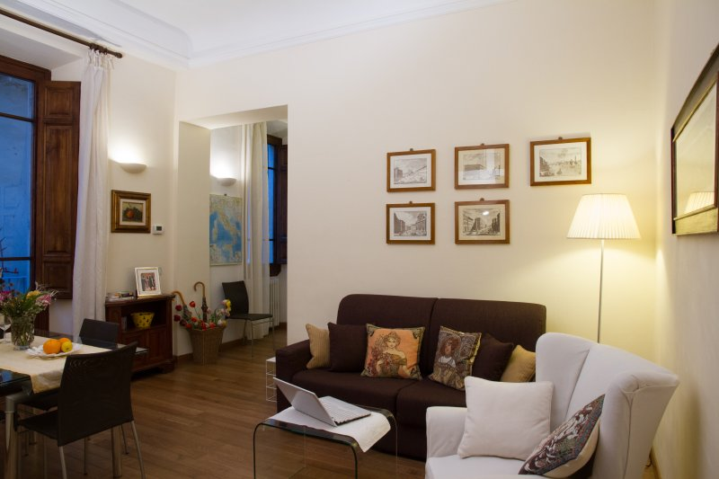 The apart is well lit, features wooden shutters and high ceilings