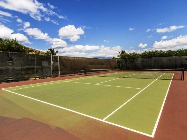 Tennis and pickle ball courts at the top of the complex