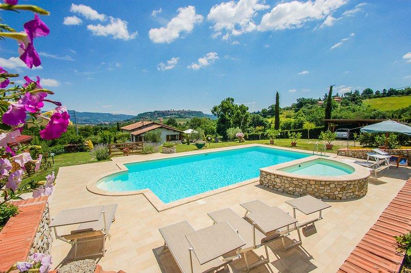 House with private pool & fenced garden, beautiful panoramic views of Orvieto, location de vacances à Orvieto