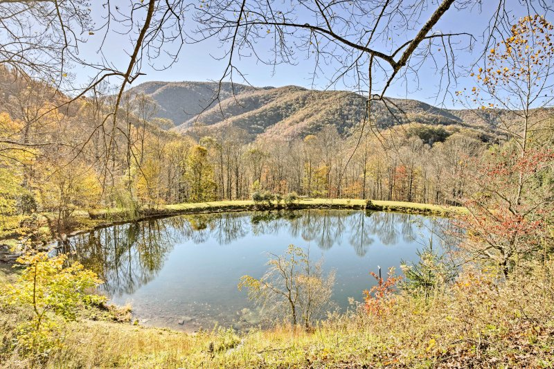 Multi-Cabin 'Big Butte Retreat' on 90 Acres w/Pond, holiday rental in Pisgah Forest