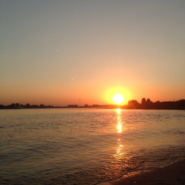 Sunset on the river Waal close to the studio