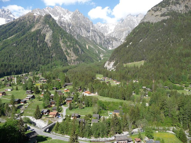 View from mountain opposite.  The chalet is near the middle