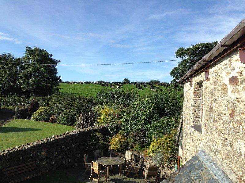 Landelijk uitzicht vanaf Gospenheale Barn stappen.